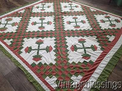"Civil War Era Antique Red & Green QUILT TOP 81"" x 75""Irish Chain Applique Floral"