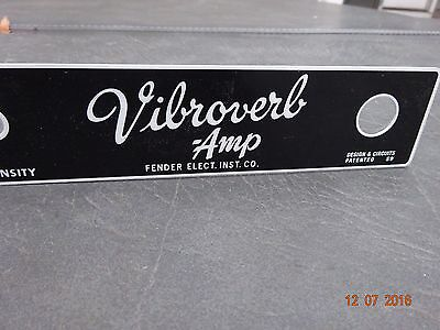 Replacement Face Plate for Blackface Fender Vibroverb 15 Amp 1964