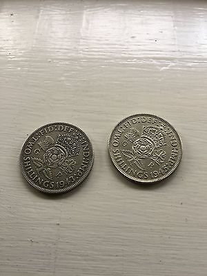 1943 & 1945 Great Britain 2 Shilling Coins Silver