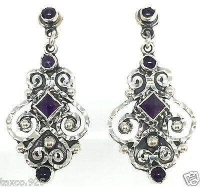 Vintage Style Taxco Mexican 925 Sterling Silver Amethyst Scroll Earrings Mexico