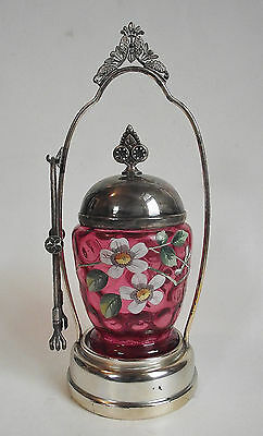 Antique CRANBERRY ENAMEL Art Glass PICKLE CASTOR Victorian Silverplate FRAME