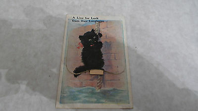 """Florence Valter 1948 Postcard """"a Line For Luck From Dun Laoghaire""""  Drop Down"""