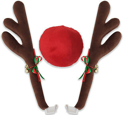 Reindeer Antlers & Nose Car Vehicle Costume Rudolph Holiday Ornament Decoration