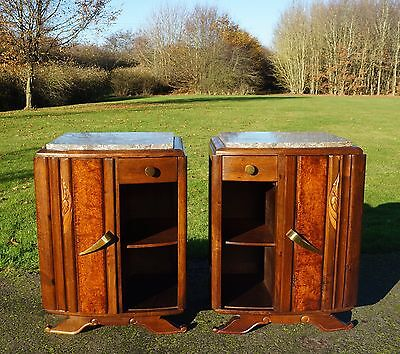 c1930s PAIR ART DECO FRENCH BURR WALNUT & MARBLE BEDSIDE CABINETS TABLES
