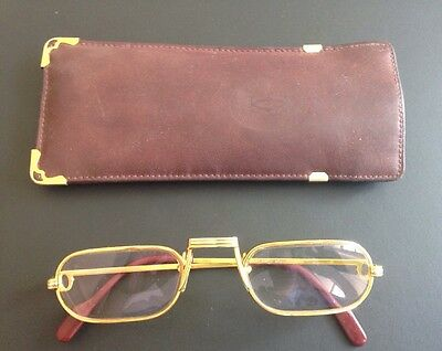 CARTIER Original Lesebrille DEMI LUNE Gold 140 Reading Glasses 50 24 Etui TOP