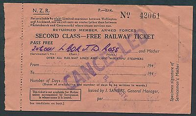 QPB2d NEW ZEALAND 2nd cl Free ticket Returned Member Armed Forces 1943