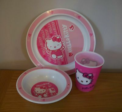HELLO KITTY Plate Bowl & Cup - 3 piece set - pink / dish / beaker / tumbler