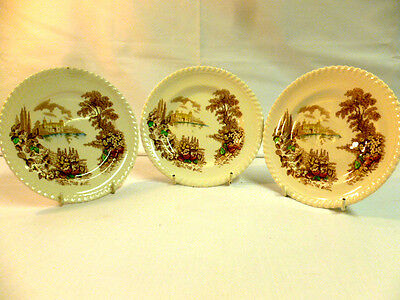 "Johnsons Bros 3 Side Plates-""castle On The Lake""."