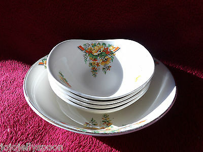 VINTAGE GRINDLEY CHINA SET  QUIRKY SHAPED SERVING  BOWL & 4 DISHES 50's  ENGLAND