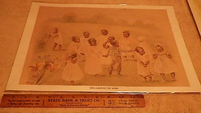 Unknown artist  print picture,black children playing ring around the roses