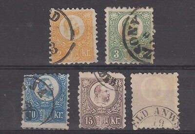 Hungary 1871 - 1873 values to 25 kr fine used ( 10kr thin)