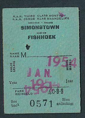 QPB36d SOUTH AFRICA 3rd cl Monthly Simonstown - Fishhoek 1954