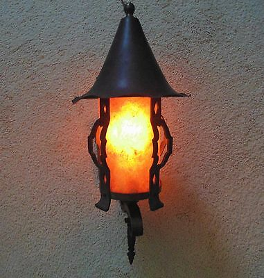 Antique Arts & Crafts Lantern Wall Lamp Sconce Hand-Forged Iron w/ Mica Shade Mi