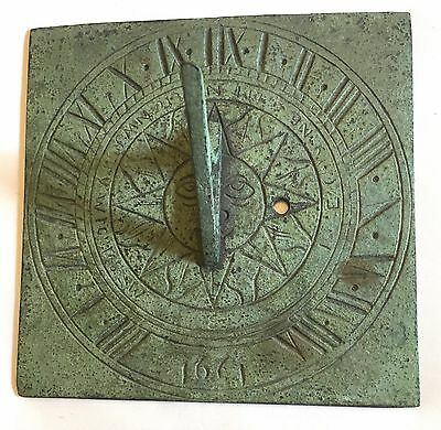 Old Brass Or Bronze Sundial With Verdigris : ONLY COUNT THE SUNNY HOURES