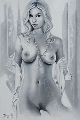 Original OIL PAINTING Female Nude Akt Erotic | Nackt Pin-Up Canvas 1029