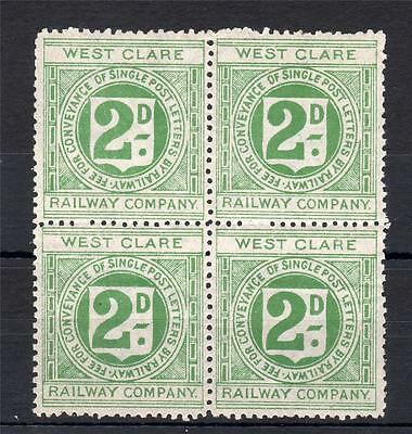 2d WEST CLARE RAILWAY STAMP UNMOUNTED MINT BLOCK OF 4