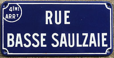 Old French enamel steel street road sign plaque plate Rue Basse Saulzaie Nantes