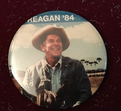 """2.25"""" Reagan in 84 Picture Button, Dressed in Cowboy Hat on Horseback"""
