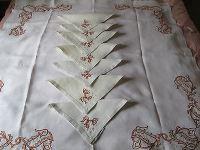"""Stunning  Antique heavy Beige Linen Hand Embroidery Tablecloth 48"""" x 48"""" Set"""