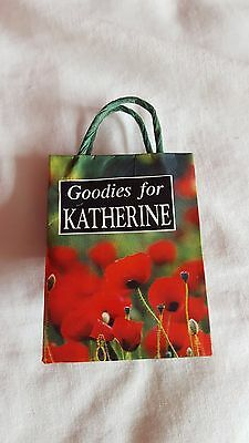 """small personalised bag """"goddies for Katherine"""" approx 2 inch height"""