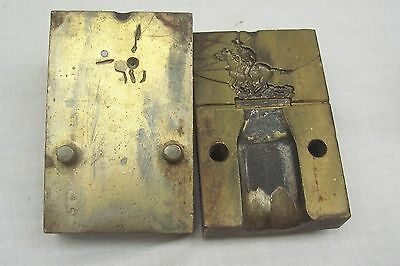 Vintage Brass Mould For Cowboy Riding A Horse - Possibly For Badges