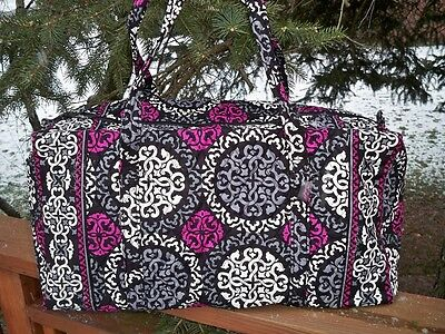 VERA BRADLEY Large Duffel Travel Vacation College Bag Canterberry Magenta