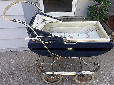 Antique VIntage Gendron Baby Stroller Carriage Cadillac Pram Toy Doll Buggy MCM