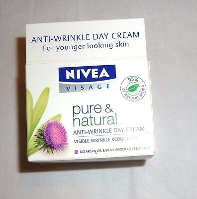 Nivea Visage pure and natural anti wrinkle day cream 50 ml size  NEW
