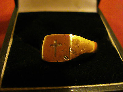 Genuine Ancient Medieval Crusaders Ring With 'cross'--Detector Find