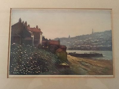 Antique Aquatint Etching by Claude H Rowbotham. Signed. Evening in Whitby.