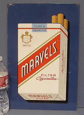 """ORIGINAL 1950's MARVELS CIGARETTES TIN SIGN AUTHENTIC OLD * 10"""" x 14 3/4"""" ~ MA9"""