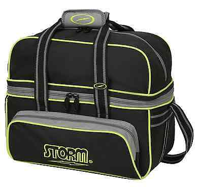 Storm 2 Ball Tote Bowling Bag with shoe pocket Color Black/Grey/Lime NEW 2016/17