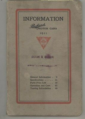 1911 Packard Model 30 Owner's Manual Illustrated Parts Book Brochure ww3846