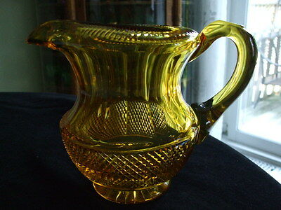 Unbelievably Beautiful ANGLO-IRISH Glass Victorian Era PITCHER in Golden Amber