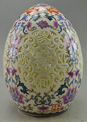 Collectible Decorated Porcelain Carved Hollowed Flower Egg Statue