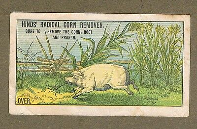1880`s Hind`s Radical Corn Remover Pig  Trade Card