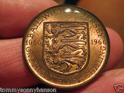 1966 1/12th of a Shilling Bailwick of Jersey Finished in Crystal Resin