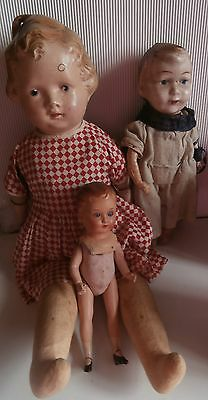 Lot  Of 3  Old  Dolls  For  Repair/pieces/restore/clothes ..