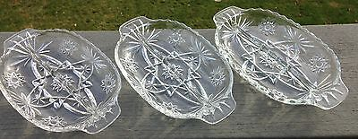 3 Early American Prescut EAPC Divided Relish Dishes #770