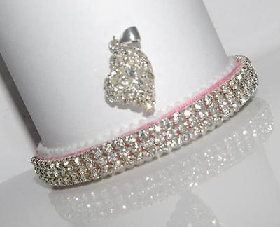 Snow Queen Diamond Pink Paved Heart Perciosa Crystal Cat Collar