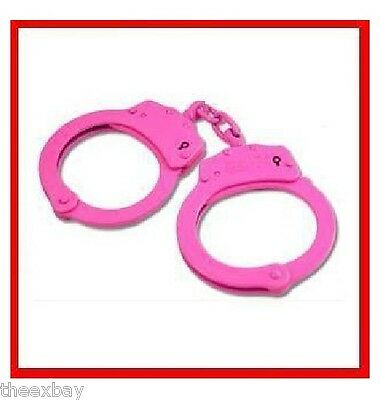 PINK Steel Hand Handcuffs Police Double Locking Cuffs Cuff HOT 2 Keys