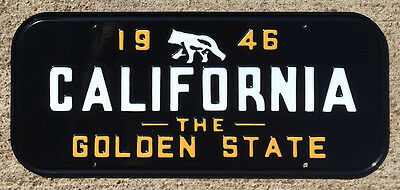 1946 California front license plate booster Golden State YOM Ford Chevy bear