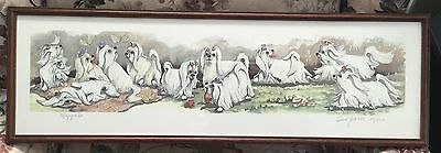"""Fanciful Maltese Dogs """"Moppets"""" ~ Framed Signed LE Print ~ Enid Groves"""