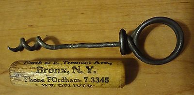 Old Vintage Bronx New York Liquor Store Corkscrew In Wood Tube