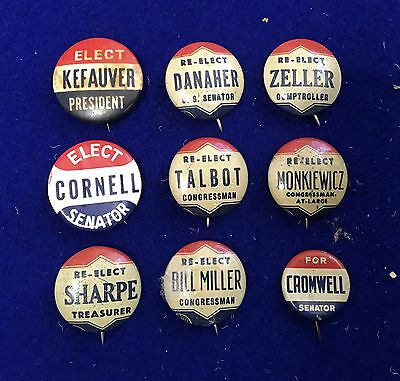 Nine Assorted Local Buttons--Some with some Condition Issues
