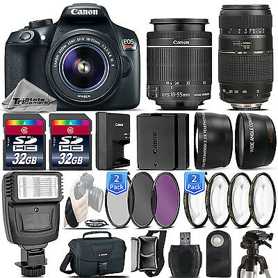 Canon EOS Rebel T6 / 1300D DSLR Camera + 18-55mm IS + 70-300mm - 64GB Kit Bundle