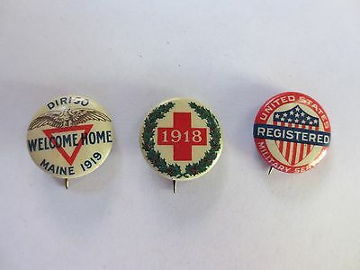 Three Celluloid Pinback for the Homefront in World War I