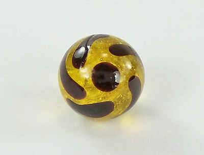 Antique Button Charmstring Glass Amber Ball Dark Painted Overlay Swirlback