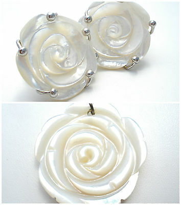 MOP Rose Pendant Earrings Set Sterling Silver Flower Hand Carved Mother of Pearl
