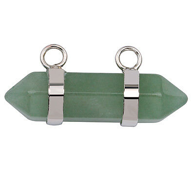 Natural Green Aventurine Carved Hexagonal Connector Pendant For Necklace GC638